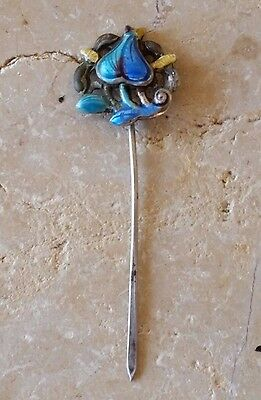 Vintage Chinese Sterling Silver Enamel Bug Hair Pin Pick Stick - 2.6 gm - Signed