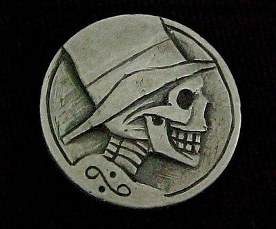 Hand Carved TOP HAT SKULL ZOMBIE Hobo Buffalo Nickel Folk Art Coin OHNS 1304