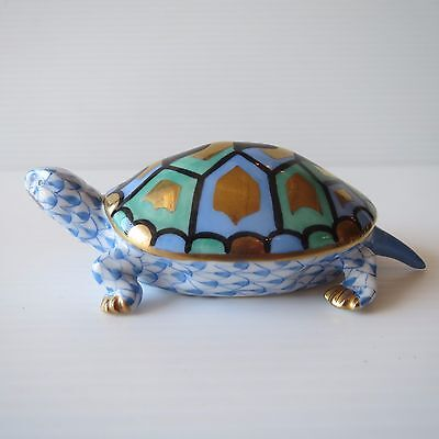 Herend Hungary, Hand Painted Fishnet Turtle / Tortoise, Porcelain, 15302
