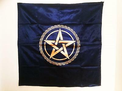 "Altar Cloth Blue With Gold Pentagram / Celtic Knot Large 42"" x 42"" Brand New"