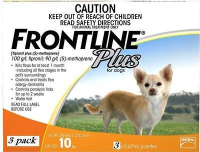Genuine Frontline Plus for Small Dog 0-22 lbs (up to 10 kg) 3 MONTHS (Do
