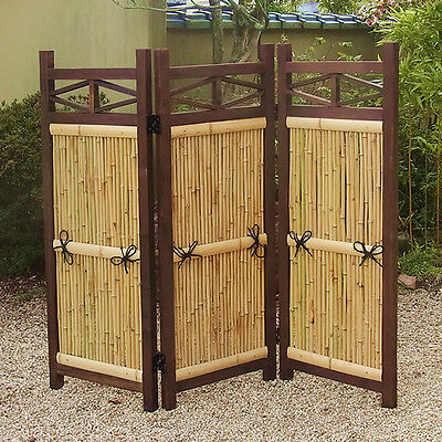 "The Bamboo Fence of Folding Type for Garden  ""Tsuitate"" made of bamboo & cedar."