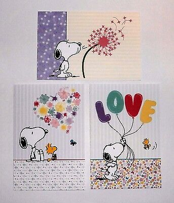 Peanuts Snoopy Woodstock Flowers Blank Note Cards Stationary Set with Envelopes