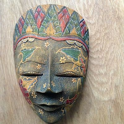 Exotic Colourful Wooden Wall Hanging Face Mask