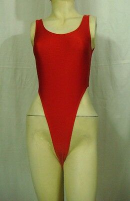 New Shiny Red Thong Leotard for Women size 10 Small