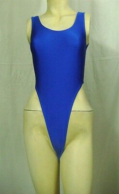 New Shiny Blue Thong Leotard for Women size 10 Small