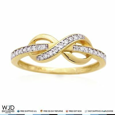 14K Yellow Gold 0.40Ct Diamond Infinity Friendship Love Promise Ring Size 5-8