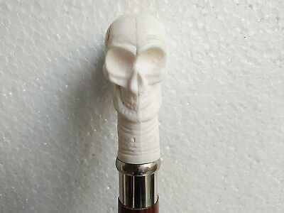 Antique Bone Nautical Skull Head Handle Wooden Walking Canes-Vintage Style Gift