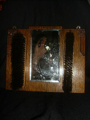 Small Art-Deco Oak Hall, Wardrobe Mirror & Pair of Clothes Brushes