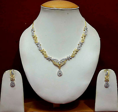 Gold Finish AD Necklace Earrings Indian Bollywood Bridal Jewelry Sets ADn36