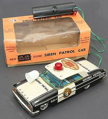 RARE VTG AOSHIN Japan B/O R/C FORD GALAXIE Police Siren Patrol Car Tin WORK +BOX