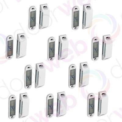 MEDIUM MAGNETIC DOOR CATCH 60mm Heavy Magnet Cupboard Cabinet WHITE 2-10 PACK