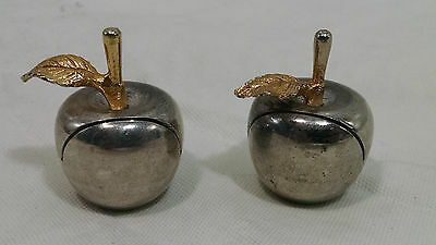 Vintage Rare Lot 2 Small Metal Chrome Apples Business Card Holder Office Decor