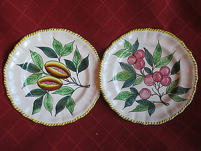 vintage continental majolica style hand painted plates