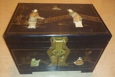 Vintage Oriental Jewelry Chest Box Black Lacquer Soapstone MOP BRASS BIG 14x9x10
