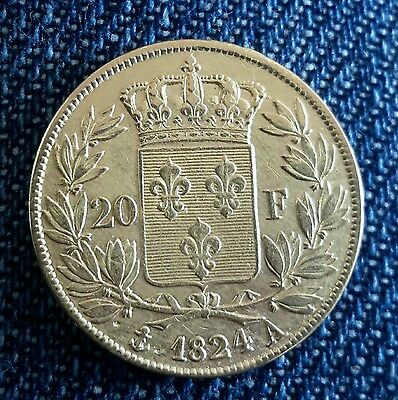 20 francs or Louis XVIII  1824 A Paris
