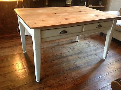 Victorian Antique Pine Dining table painted