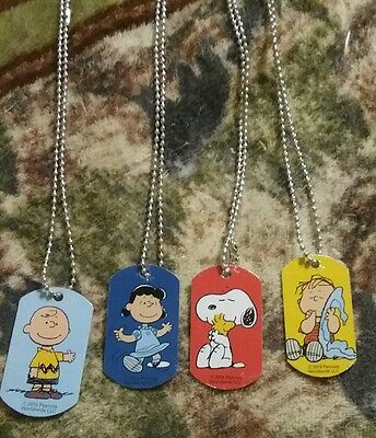 Peanuts Dog Tag Necklaces Set of 4 Snoopy, Woodstock, Charlie Brown, Linus &