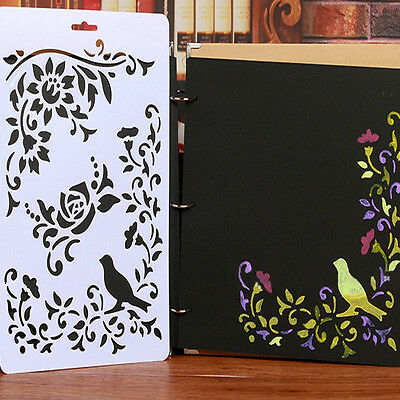 DIY Craft Tools Bird Vine Layering Painting Stencils Scrapbooking Templates Cute