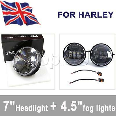 "1PC 36W 7"" LED daymaker Headlight & 2PCS 4.5"" Passing Lights For Harley Davidson"