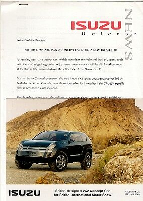 Isuzu VX2 Concept Car & Trooper 1998 UK Motorshow Press Releases & Photograph