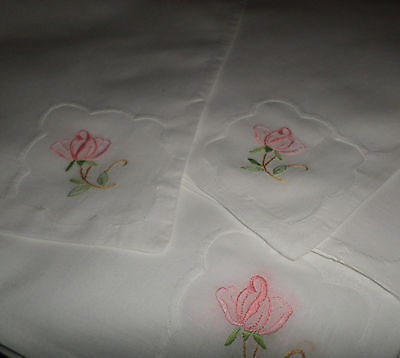 12 Pretty Vintage Linen Napkins / Serviettes with Embroidered Lawn Insertion