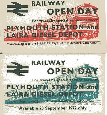 British Rail Plymouth Laira Open Day Special Train Tickets