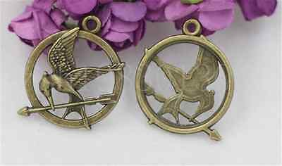 5pcs Antique Bronze Lovely bird Jewelry Finding Charms Pendant 30x25mm