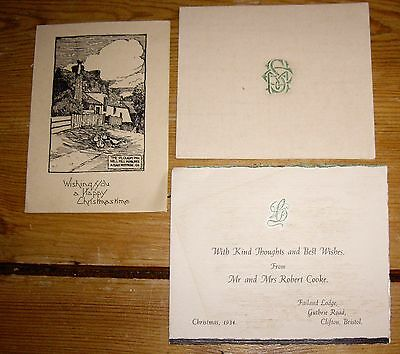 3 X Vintage Christmas Cards Used 1934 and 1937
