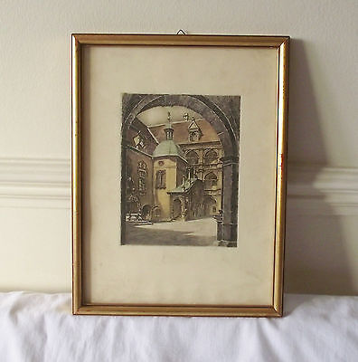 Beautiful Framed Print on Paper Signed Courtyard Architecture Austria