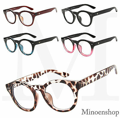 Quality Thick Frame 1950's Round Keyhole Steampunk VTG Retro Clear Lens Glasses