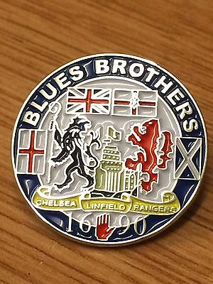 Blues Brothers - Chelsea, Linfield, Rangers Enamel Pin Badge