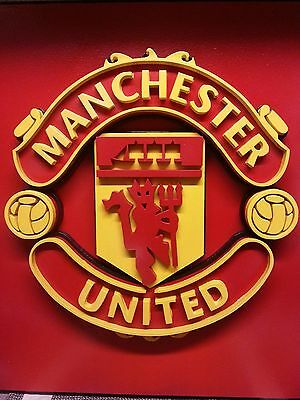 Manchester United Football Club Logo in Wood Crafted in a 3-Dimensional Style