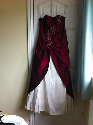 Red and cream beaded ball gown size 14 with stole wrap