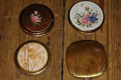 4 x old vintage brass compacts powder mirror compact stratton