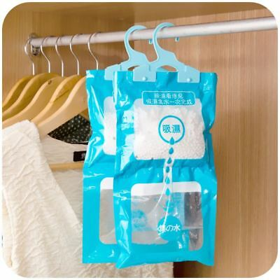 2 x Hanging Wardrobe Dehumidifier Bags Stop Damp Mould Mildew Moisture Removers