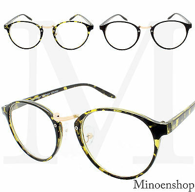 Unisex Men Womens Round Oval Metal Bridge Frame Geek Nerd Clear Lens Glasses