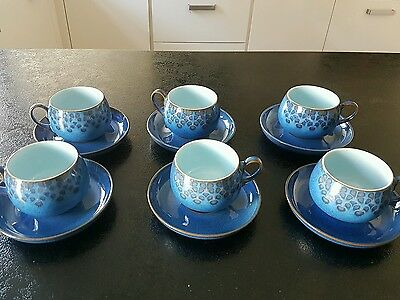 set of 6 SIX Denby MIDNIGHT Tea Cups and Saucers - Mint condition