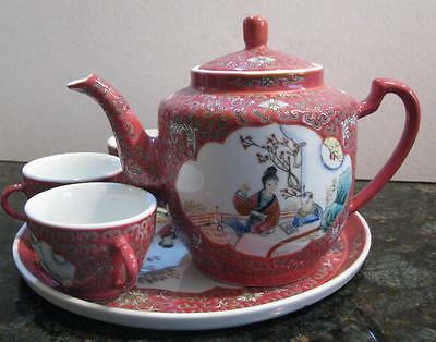 Lovely Famille Rose Characters Chinese Tea Set With Tray Platter