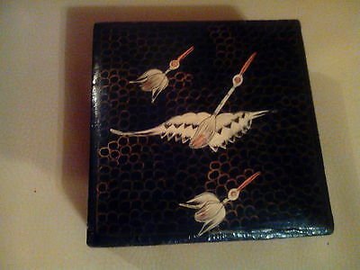 Vintage Black Wooden Box with Lacquered Finish, Hand Painted Cranes