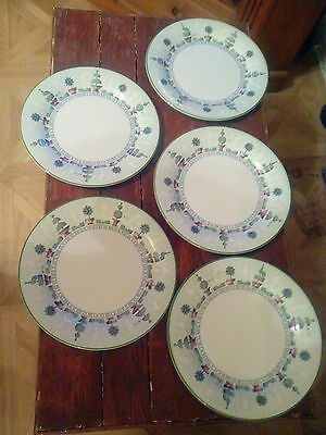 Set of 5 Staffordshire 'Topiary' Dinner Plates : 10.25 inches