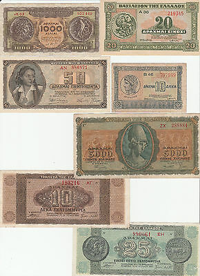 Lot Griechenland / Greece:  7 alte Banknoten