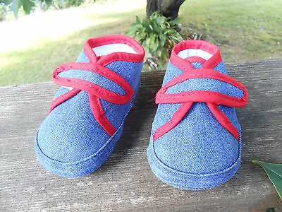 ABG Crib Shoes Infant Soft Sole size 2.5 Denim 6-9 Months Baby Boy