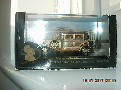 Lledo 24 Ct Gold Plated Rolls Royce Commemorating Wedding of HRH & Prince Philip