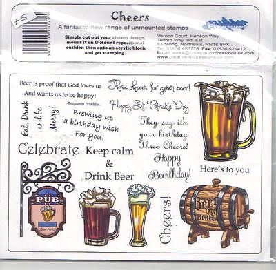 Creative Expressions U-Mount Rubber Stamps - Cheers (Beer)