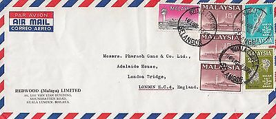 P 2076 Malaysia  1966 air cover UK;  $1.60c rate; 6 stamps