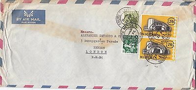 P 2134 Nigeria  Ebute Metta1961 airmail cover to the UK;  6 sh 3d rate; 4 stamps