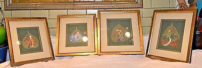 qty4 Antique and Unique Chinese Painting on Bodhi/Pear Leaves
