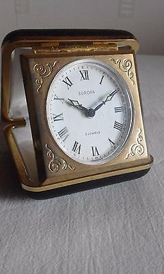 Europa travel alarm with engraved brass face