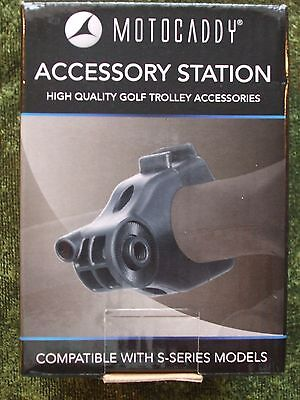 Motocaddy Accessory Station Golf Trolley Holder Mount Add-On Quick Fit (Black)